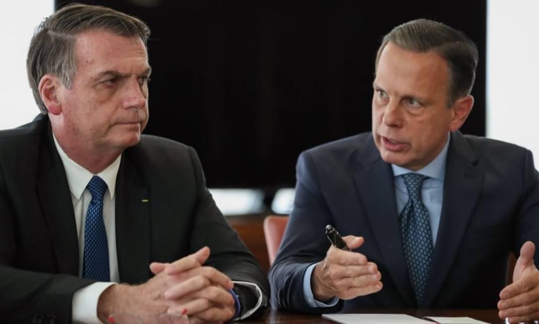 Presidente Jair Bolsonaro e João Doria, governador de São Paulo Foto: Agência O Globo