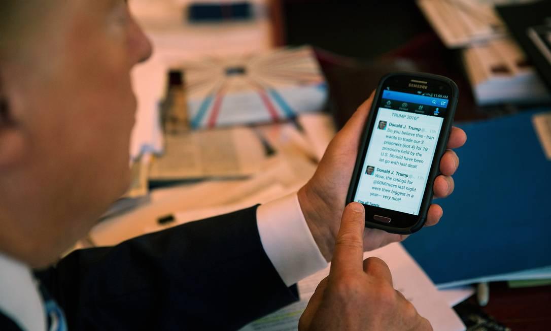 Acostumado a usar o Twitter como palanque político, Trump é campeão de menções ao seu perfil Foto: JOSH HANER / NYT/29-09-2015