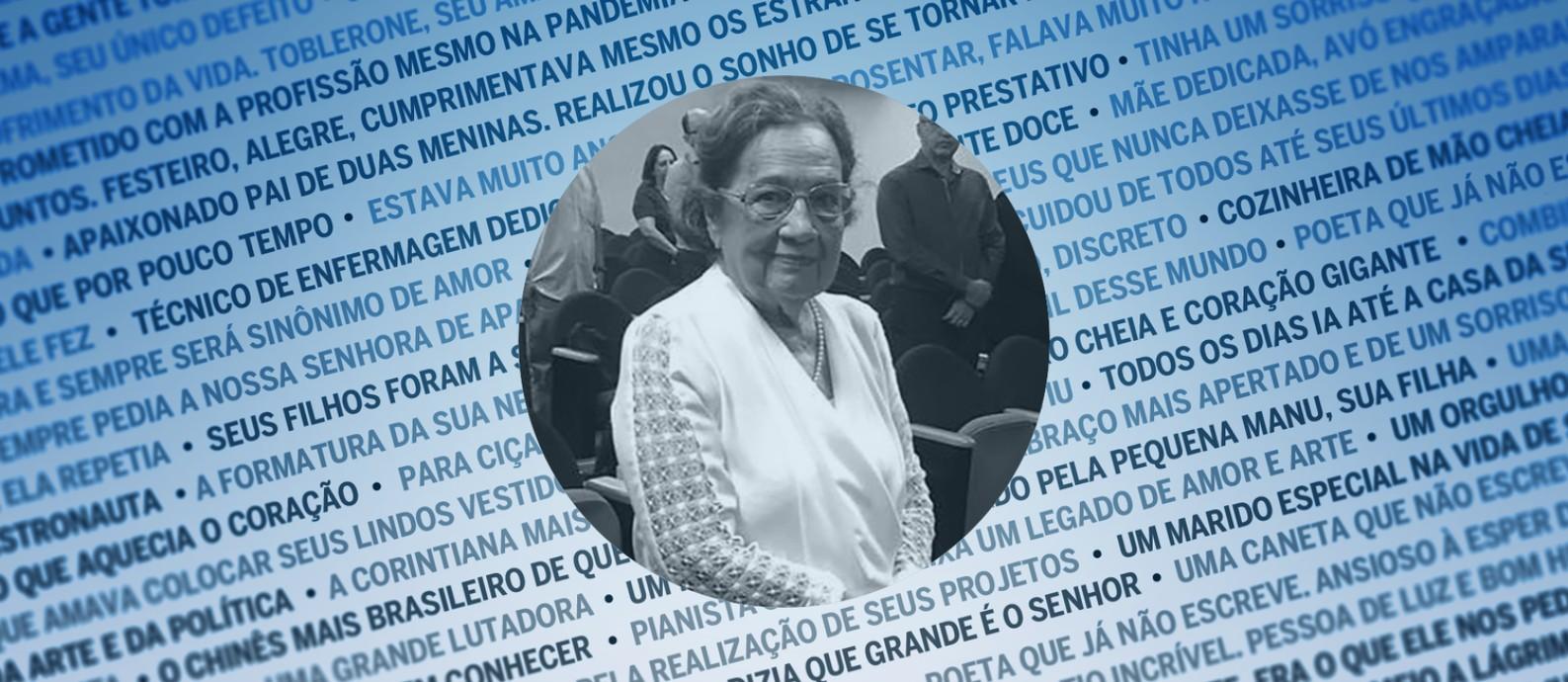 A pesquisadora Gilberta Bensabath, de 95 anos, vítima da Covid-19 Foto: Editoria de arte