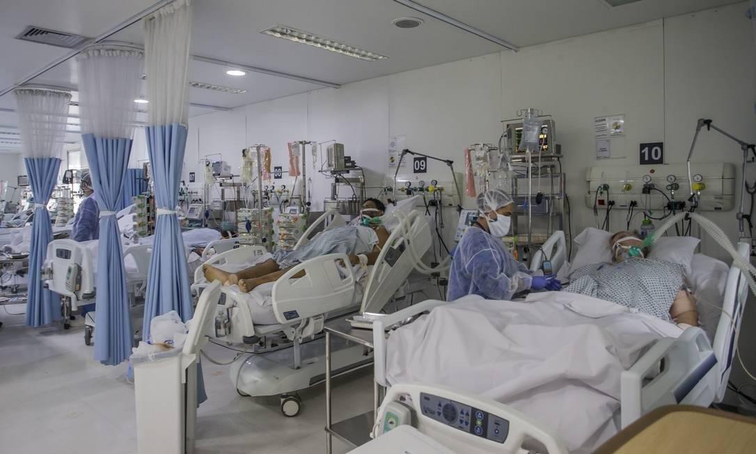 Pacientes com Covid 19 na UTI de hospital privado em SP Foto: Edilson Dantas / Agência O Globo