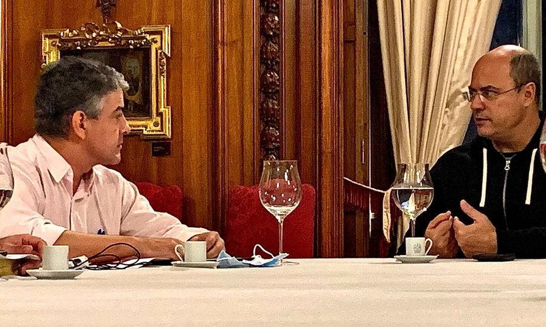 O novo secretário de Saúde Fernando Ferry se reuniu com Wilson Witzel neste domingo Foto: Divulgação