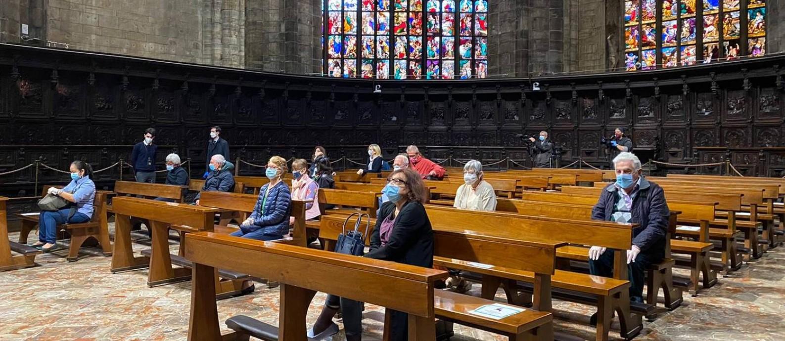 Missa realizada na Capela Feriale, dentro da Catedral Duomo, nesta segunda-feira (18) Foto: Fernanda Massarotto