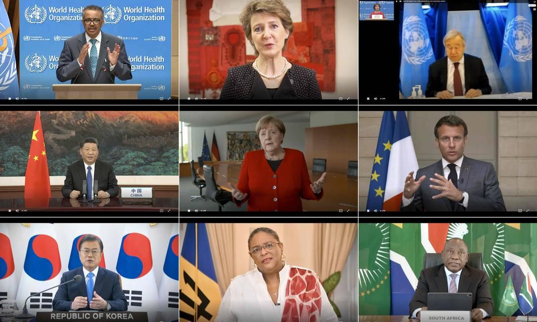 Nove líderes participam da reunião anual da Organização Mundial da Saúde (OMS), que aconteceu virtualmente pela primeira vez em sua história Foto: - / AFP