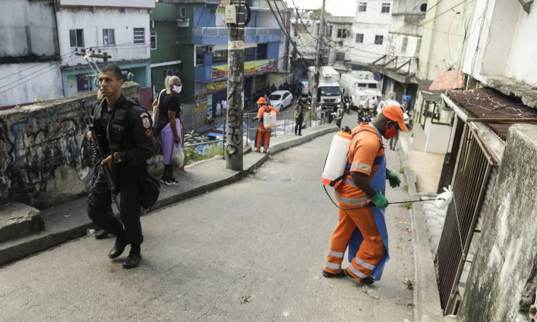 Favela do Vidigal recebe operações contra a Covid-19 Foto: Gabriel de Paiva / Agência O Globo