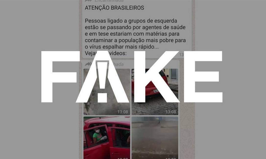 É #FAKE que vídeos mostrem pessoas se passando por agentes de saúde para contaminar a população Foto: Reprodução