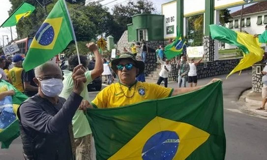 Angelo Antônio Cavalcante Martins na manifestação de 19 de abril a favor da intervenção militar e contra o isolamento social Foto: Reprodução