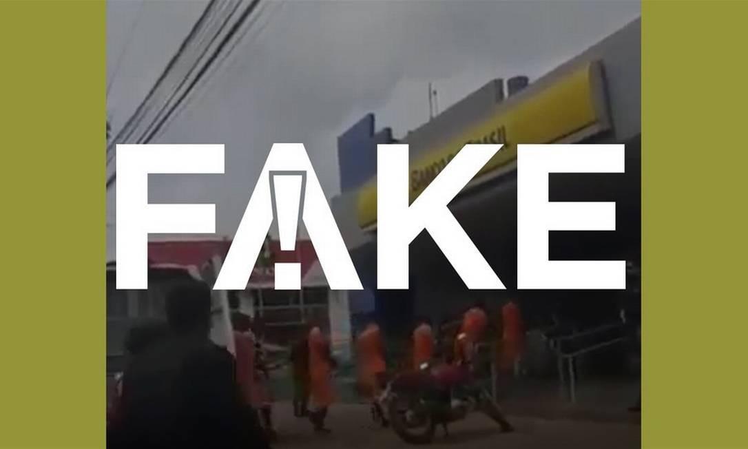 É #FAKE que vídeo mostre presos sem máscara em fila para receber auxílio em banco no meio da pandemia Foto: Reprodução