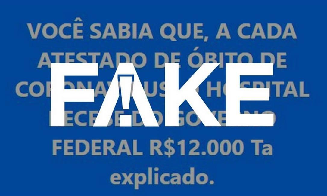 É #FAKE que Ministério da Saúde repassa R$ 12 mil a hospitais por cada morte por Covid-19 Foto: Reprodução