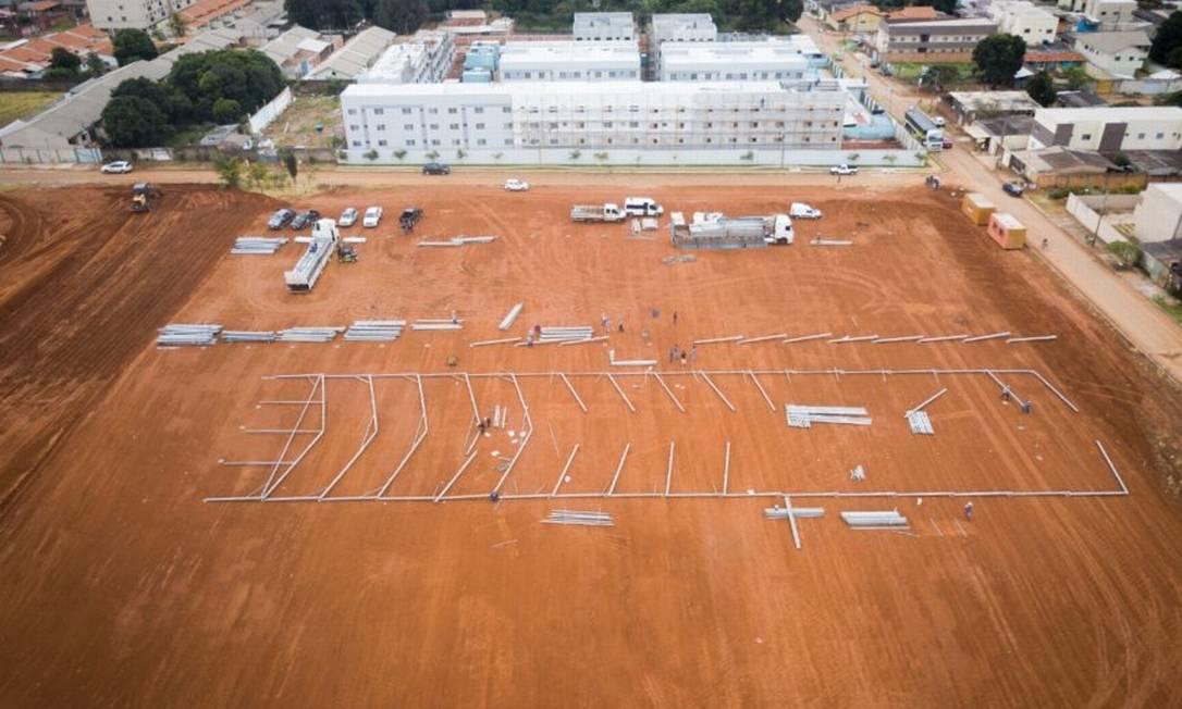 Imagem da área do hospital de campanha em Águas Lindas de Goiás Foto: Divulgação/Ministério da Infraestrutura