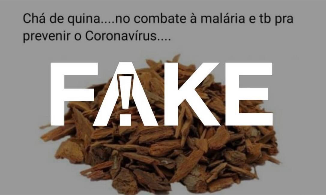 É #FAKE que chá da casca de quina quina seja eficaz contra o coronavírus Foto: Reprodução