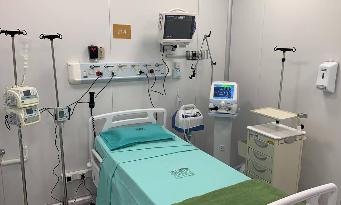 Um dos leitos do novo hospital inaugurado nesta terça em Manguinhos Foto: Leonardo Oliveira / Divulgação
