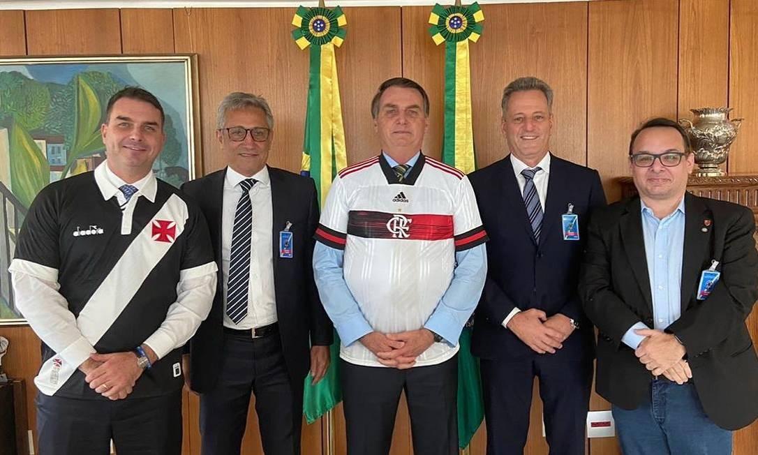 Presidentes de Vasco e Flamengo com o presidente Bolsonaro Foto: Reprodução/Instagram