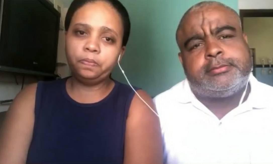 Rafaela e Neilton Matos, pais de João Pedro, morto com um tiro de fuzil dentro de casa, durante operação no Complexo do Salgueiro Foto: Reprodução/TV Globo