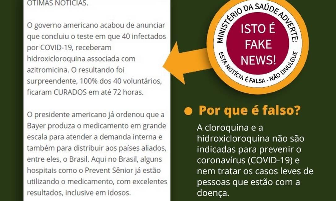 'Ministério da Saúde adverte: isto é fake news', diz publicação da própria pasta em 10 de abril Foto: Reprodução