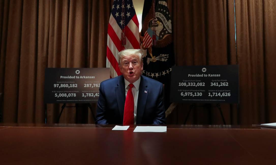Donald Trump é defensor da cloroquina para combater a Covid-19 Foto: LEAH MILLIS / REUTERS
