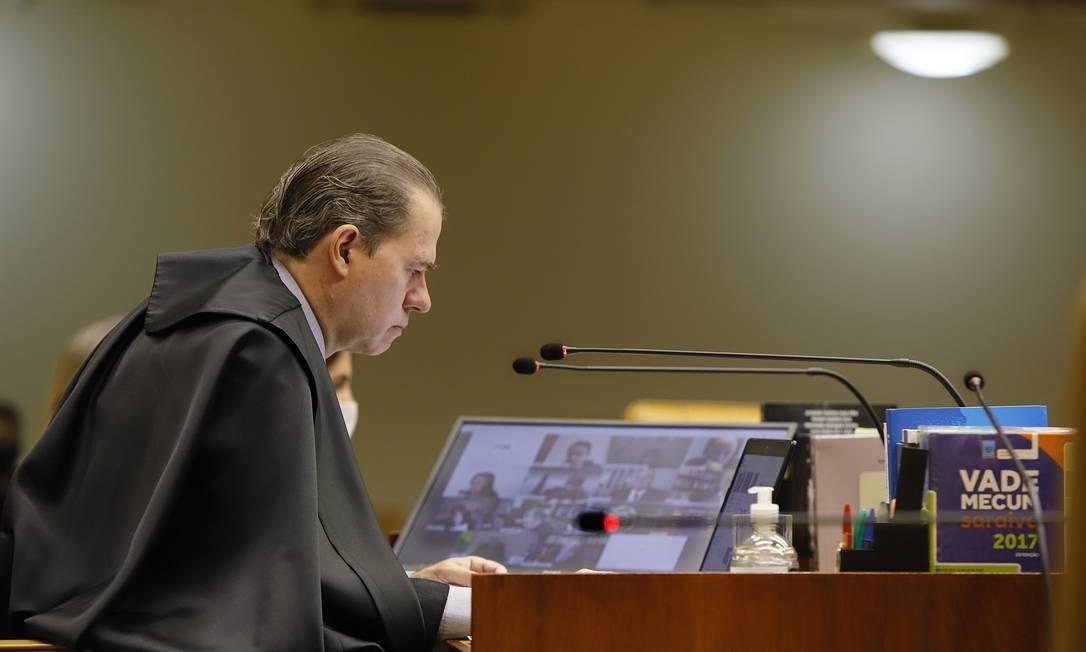 O presidente do Supremo Tribunal Federal, Dias Toffoli, em sessão por videoconferência 20/05/2020 Foto: Divulgação