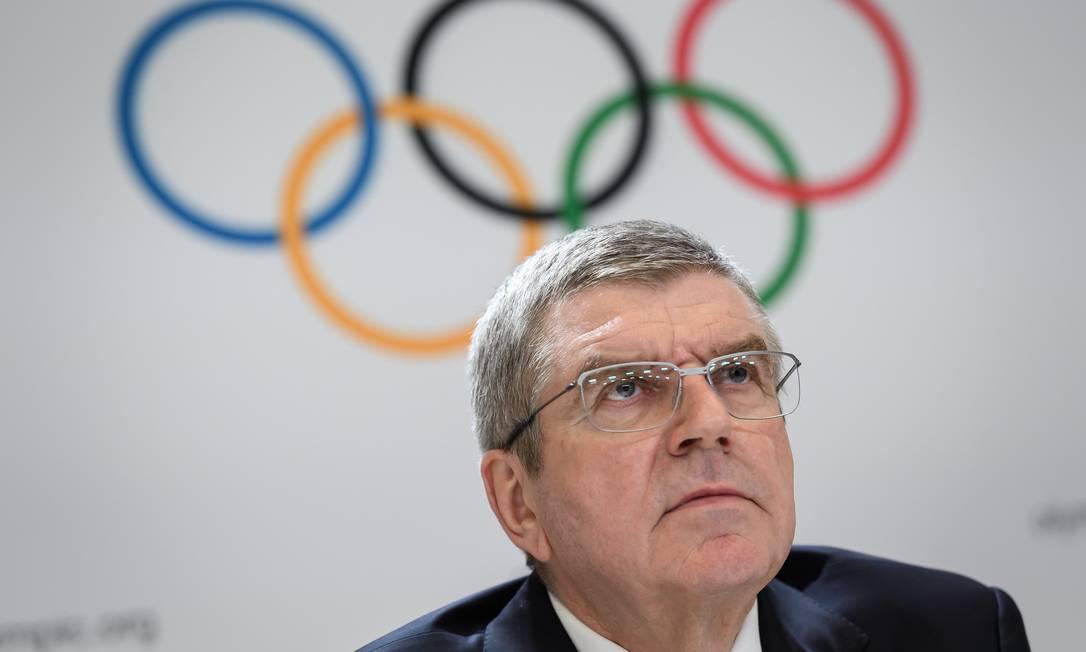 O presidente do COI, Thomas Bach, em registro de janeiro de 2020 Foto: FABRICE COFFRINI / AFP