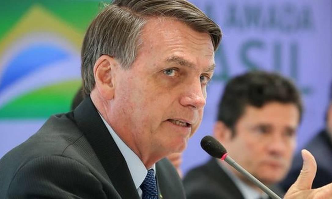 Bolsonaro em encontro em 22 de abril, com seu agora ex-ministro de autor de acusações Sergio Moro Foto: MARCOS CORRÊA/PRESIDÊNCIA DA REPÚBLICA