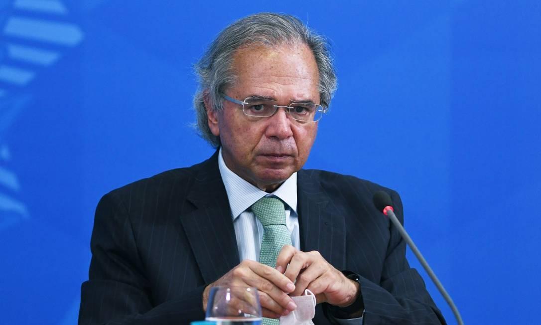 O ministro da Economia, Paulo Guedes, durante entrevista no Palácio do Planalto Foto: Edu Andrade / Ministério da Economia