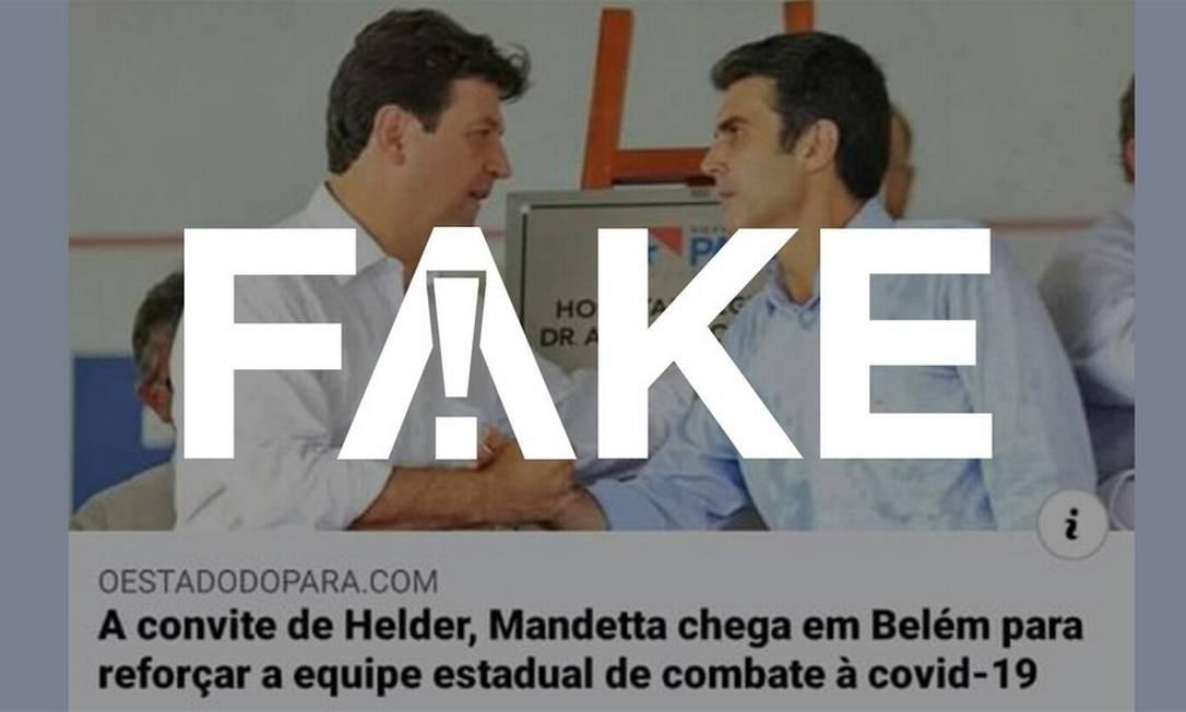 É #FAKE que foto mostre Helder Barbalho e Mandetta sem máscaras se cumprimentando durante a pandemia no PA Foto: Reprodução
