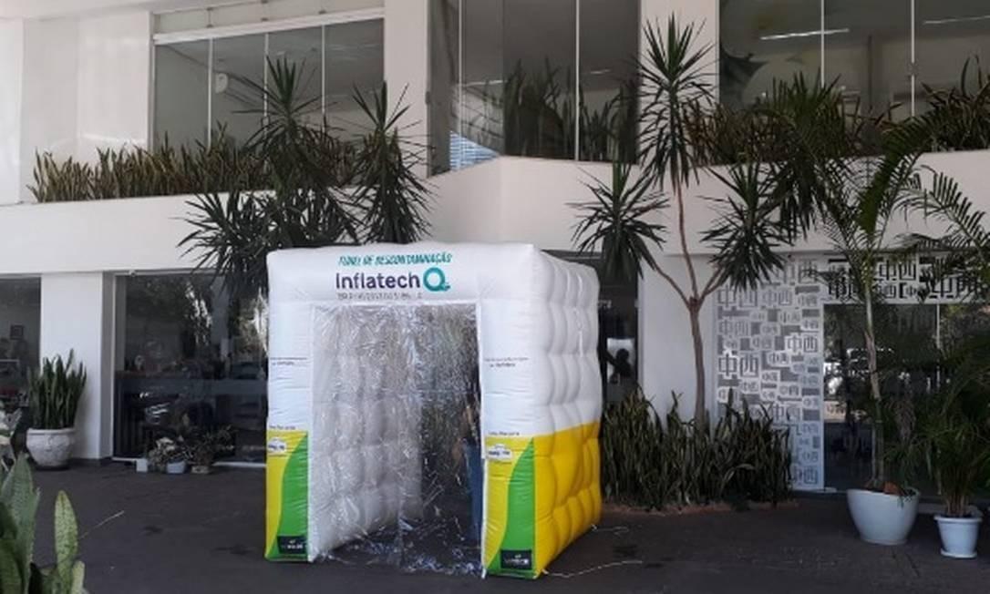 Túnel de descontaminação: equipamento visa a mitigar a proliferação do coronavírus Foto: Divulgação