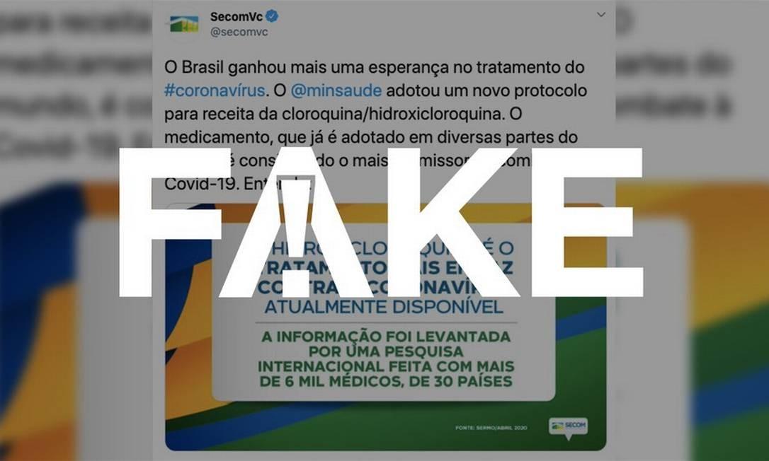 É #FAKE que pesquisa recente indique a hidroxicloroquina como o tratamento mais eficaz contra o coronavírus Foto: Reprodução