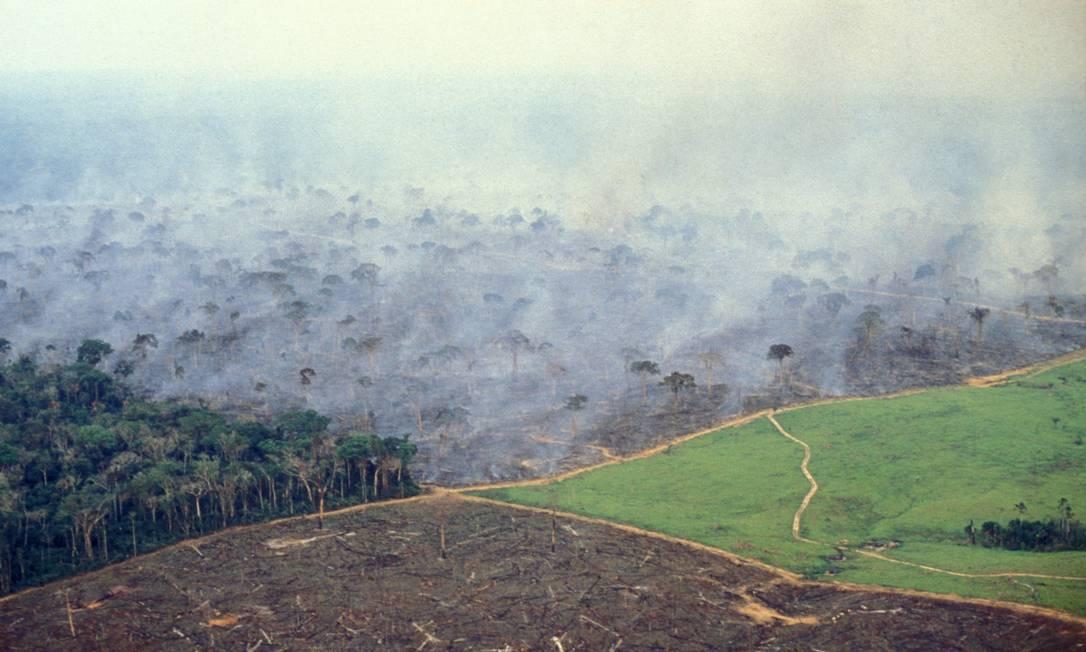 Vista aérea de desmatamento em parte da Floresta Amazônica, no Acre Foto: Brazil Photos / Getty Images