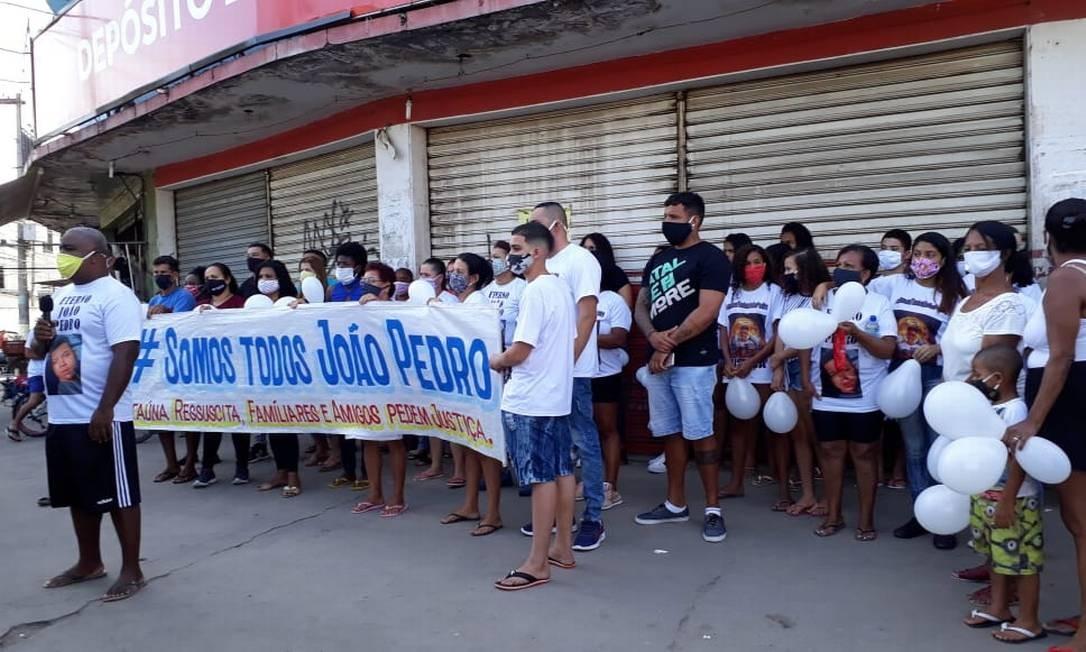 Protesto em Itaúna, São Gonçalo, pede justiça pela morte do jovem João Pedro Foto: Rede Social / Reprodução
