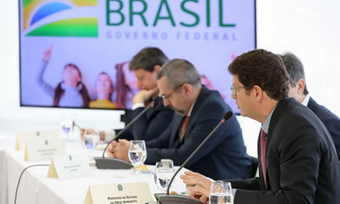 Salles sugeriu que governo aproveitasse pandemia para 'ir passando a boiada' no ministério do Meio Ambiente Foto: Marcos Correa / divulgação 22/04/2020