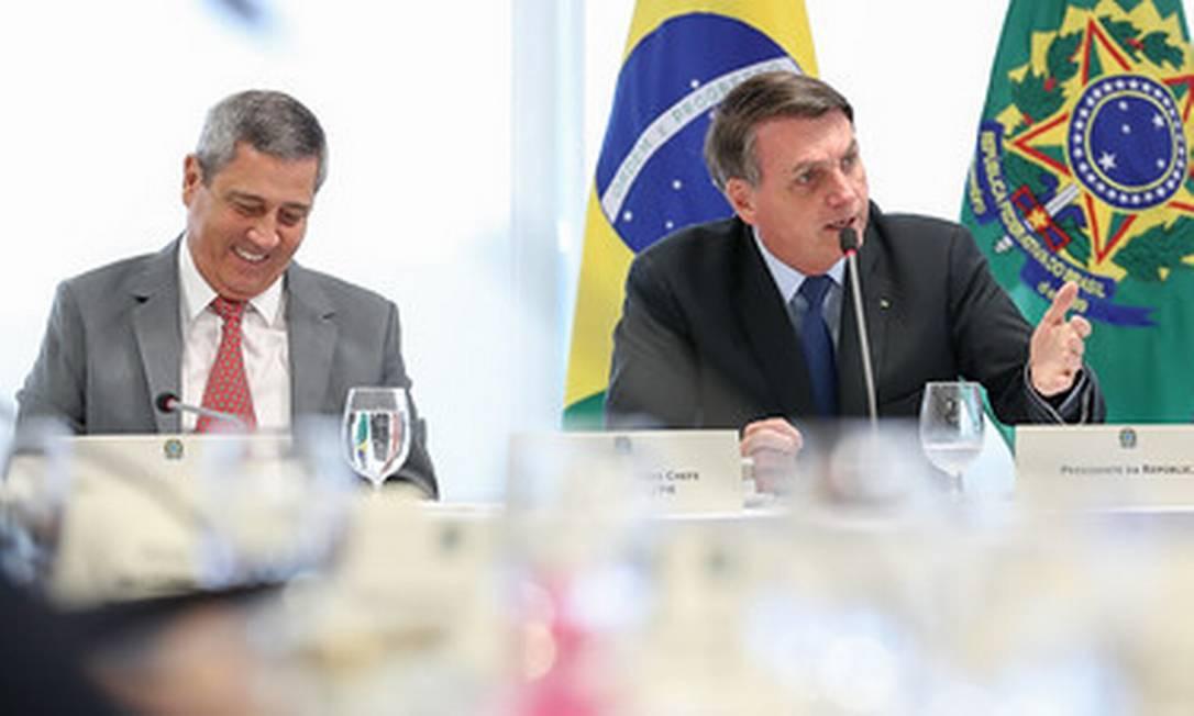 Bolsonaro na reunião apontada por Moro como prova de tentativa de interferência do presidente na PF Foto: Marcos Correa / divulgação 22/04/2020