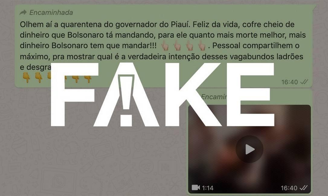 É #FAKE que vídeo mostre governador do Piauí em festa durante a pandemia da Covid-19 Foto: Reprodução