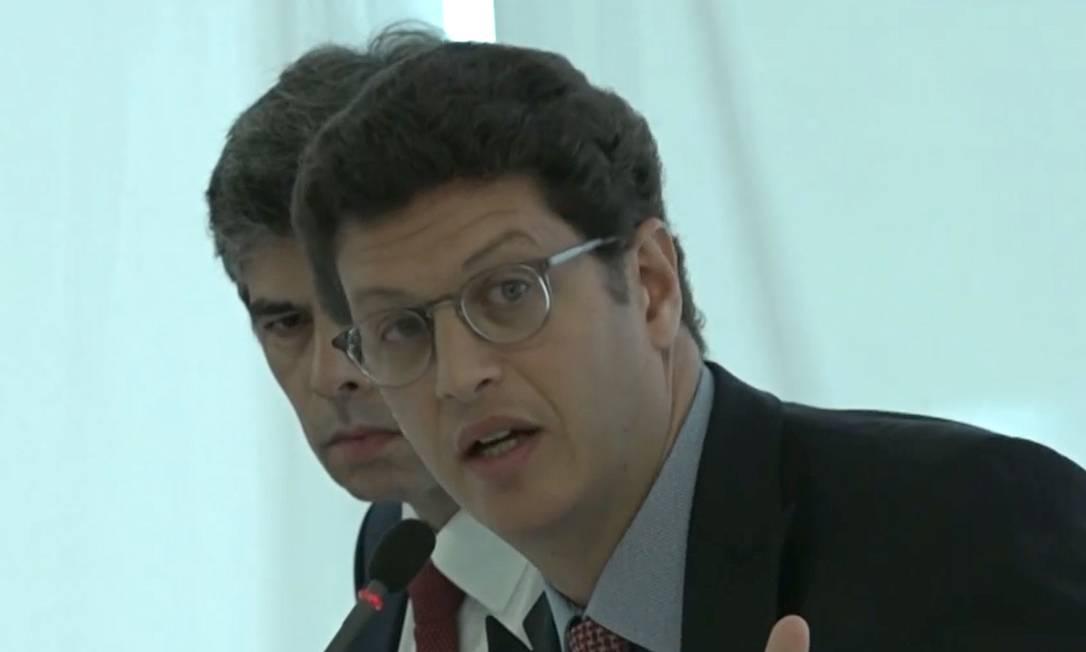 Ricardo Salles, durante reunião ministerial com o presidente Jair Bolsonaro Foto: Reprodução