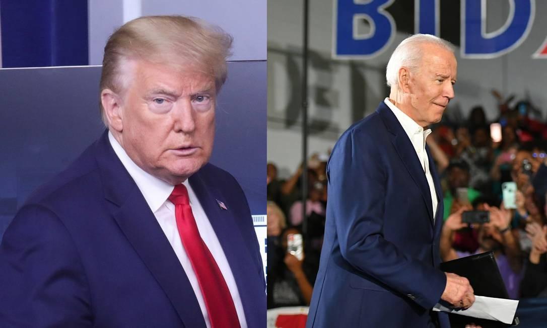 Presidente Donald Trump (D) e ex-vice-presidente Joe Biden (E) Foto: Leah Millis (Trump) e Mandel Ngan (Biden) / Reuters (Trump) e AFP (Biden)