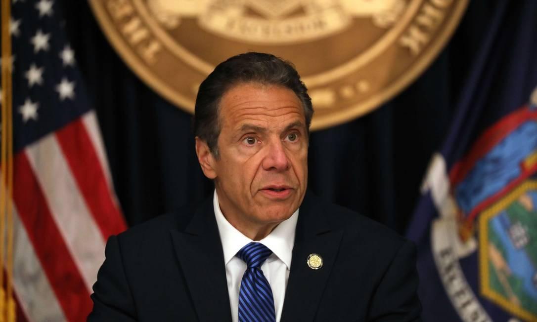 Governador de Nova York, Andrew Cuomo, durante entrevista coletiva diária Foto: SPENCER PLATT / AFP / 21-05-2020