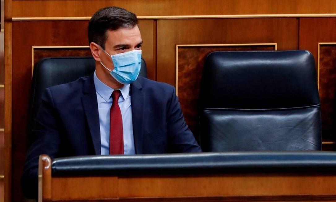 Primeiro-ministro espanhol, Pedro Sánchez, durante sessão Parlamentar Foto: ANDRES BALLESTEROS / AFP