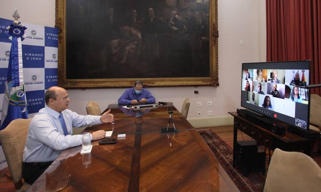 Witzel conversa, por videoconferência, com representantes de organzações de defesa dos direitos humanos, além dos secretários daPM, Polícia Civil e de Vitimização em 22/05 Foto: Divulgação / Governo do estado