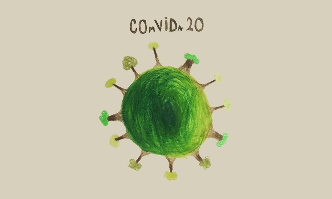 O desenho de Manuela Oliveira, de 11 anos, que virou a campanha 'ComVida-20' Foto: Reprodução da web