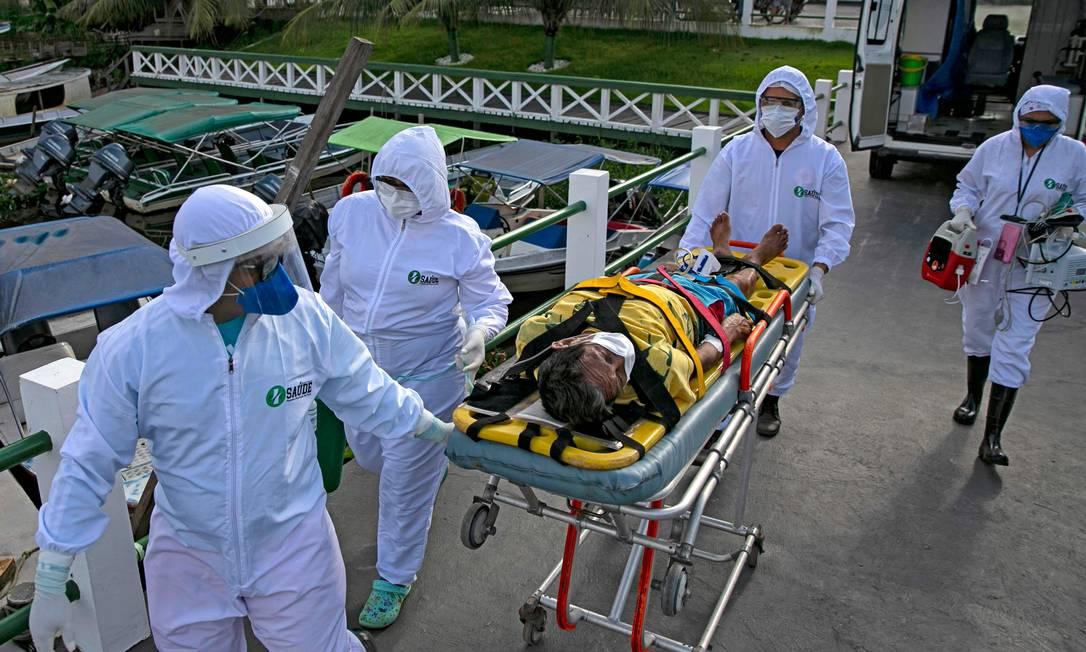 Em Breves, no Pará, um quarto da população já pode ter sido contaminada pelo coronavírus Foto: TARSO SARRAF / AFP