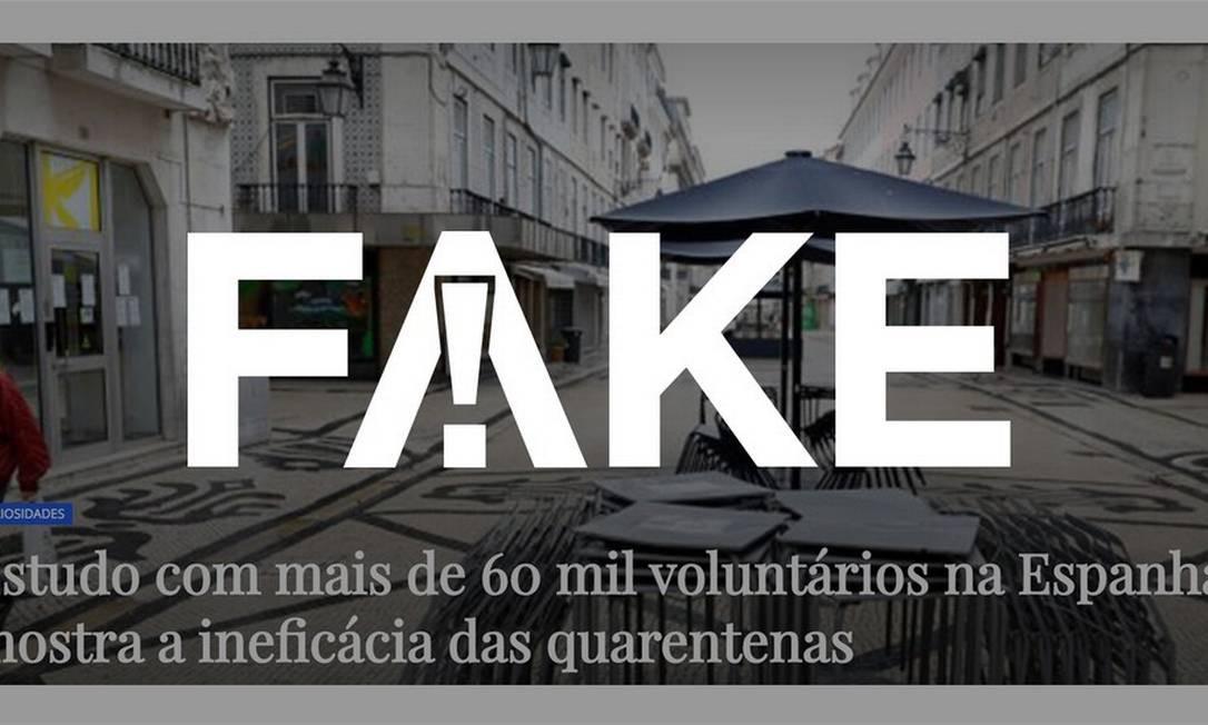 É #FAKE que estudo espanhol com 60 mil pessoas atestou ineficácia do isolamento social para conter o coronavírus Foto: Divulgação