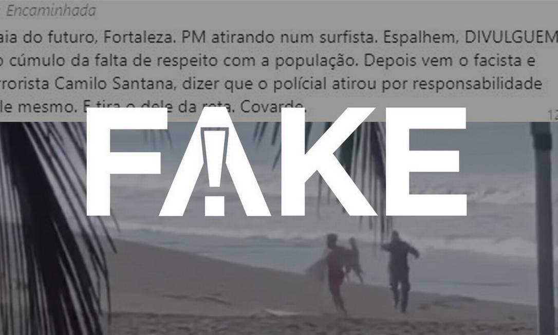 É #FAKE que vídeo mostre polícia atirando em surfista na Praia do Futuro, em Fortaleza, após ele descumprir isolamento social Foto: Reprodução