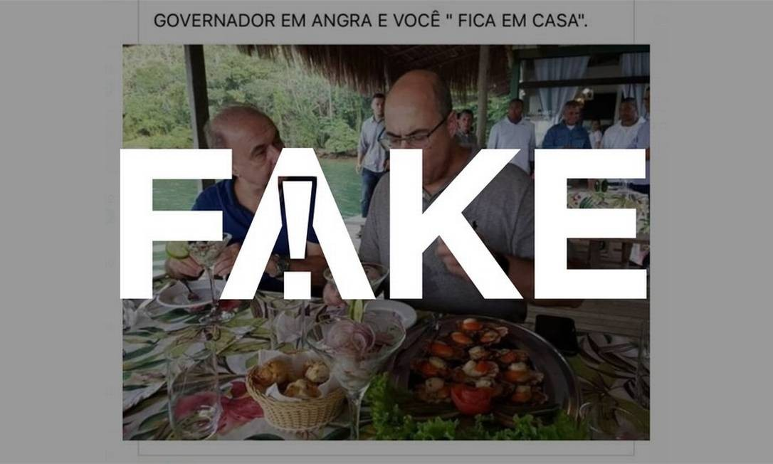 É #FAKE que foto mostre governador do Rio de Janeiro furando a quarentena para passear em Angra dos Reis Foto: Reprodução