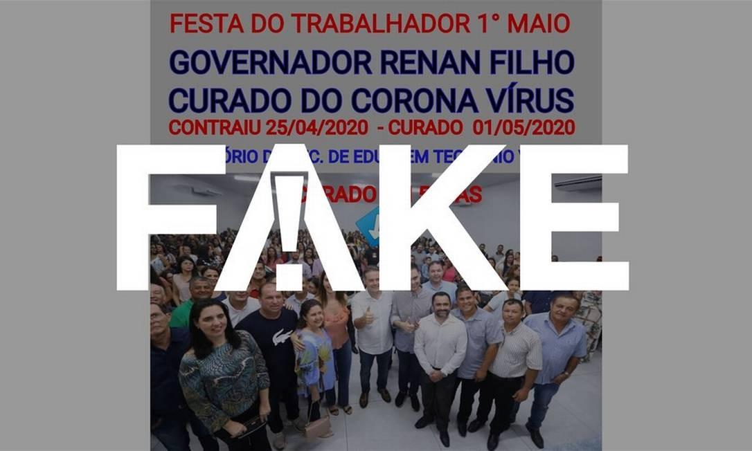 É #FAKE que governador de Alagoas participou de evento dias depois de testar positivo para a Covid-19 Foto: Reprodução