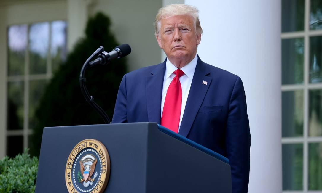 Donald Trump durante coletiva de imprensa na Casa Branca Foto: JONATHAN ERNST / REUTERS