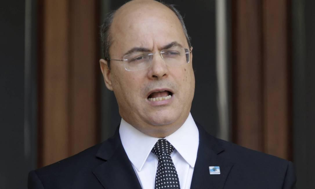Governador Wilson Witzel durante pronunciamento sobre ser alvo da Operação Placebo da PF Foto: Domingos Peixoto / Agência O Globo