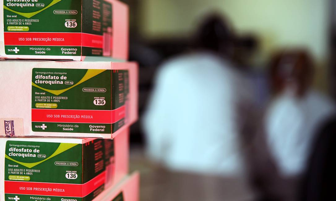 Caixas de cloroquina distribuídas pelo Ministério da Saúde do Brasil, em Porto Alegre (RS) Foto: DIEGO VARA / REUTERS