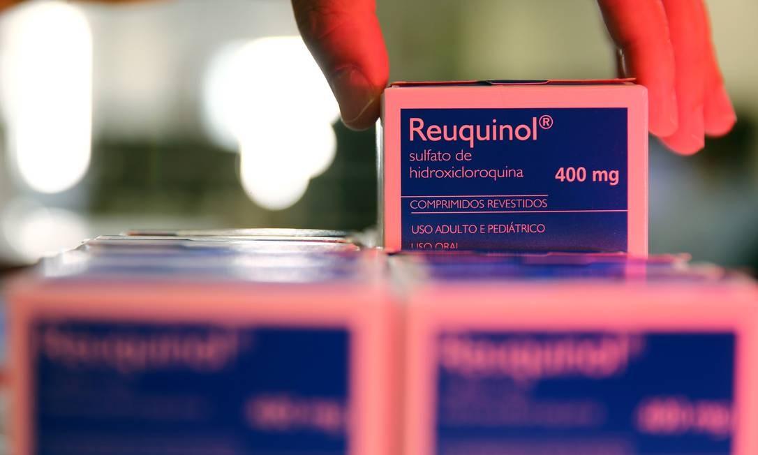 Caixa de hidroxicloroquina em farmácia de hospital de Porto Alegre (RS), no Brasil Foto: DIEGO VARA / REUTERS