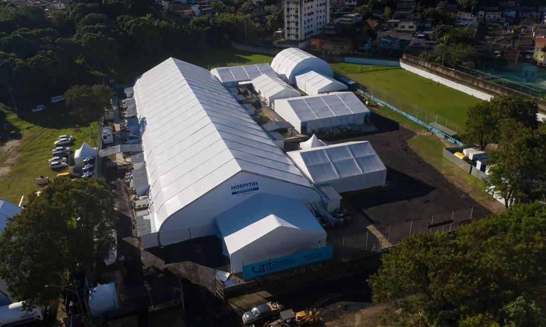 Hospital de campanha de São Gonçalo, na Região Metropolitana do Rio Foto: BRENNO CARVALHO / Agência O Globo