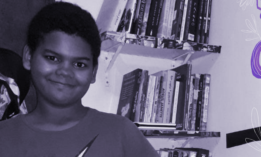 Adriel Bispo de Souza, 12 anos: apaixonado por livros, ele tem faz resenhas literárias no Instagram Foto: Arquivo Pessoal