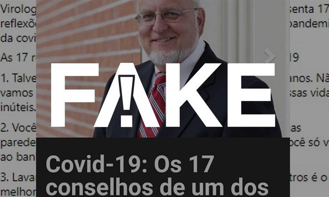 É #FAKE que diretor do CDC nos EUA fez lista com 17 dicas que inclui 'evitar o uso prolongado de máscaras' Foto: Reprodução