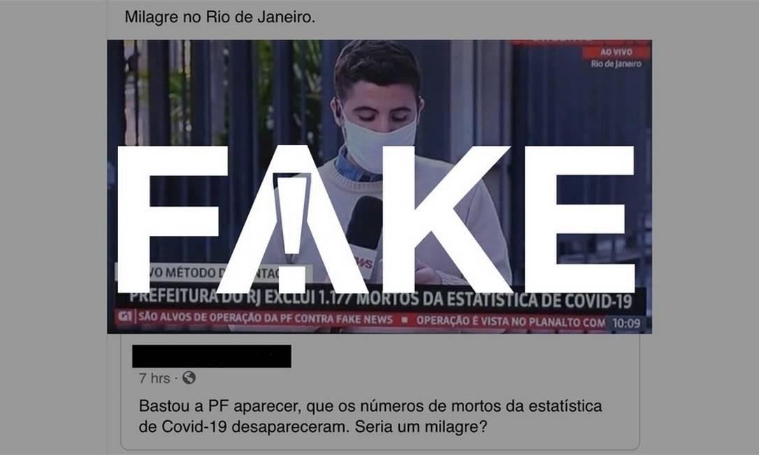 É #FAKE que operação da PF fez cidade do Rio de Janeiro excluir 1,1 mil mortes por Covid-19 da estatística oficial Foto: Reprodução